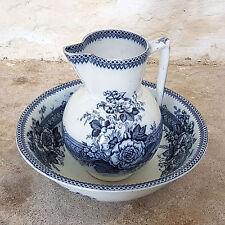C19th Blue & White Ceramic Large Wash Bowl & Jug (Victorian Antique)