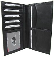 Paul & Taylor Mens Womens Leather Checkbook Holder Bill Compartment Wallet