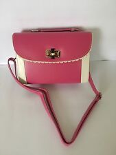 New Ladies Stylish Pink Vintage Retro Faux Leather Shoulder and Grab Handle Bag