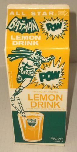 vintage BATMAN 1960s ALL STAR LEMON DRINK unused half gallon WAX CARTON NOS