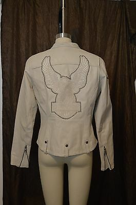 Genuine-Harley-Davidson-Womens-Cream-Leather-Studded Jacket Sz Medium