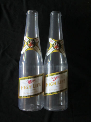 Lot of 2 Miller High Life Jumbo Change Beer Bottles bar Pub Keg Brewery Man Cave