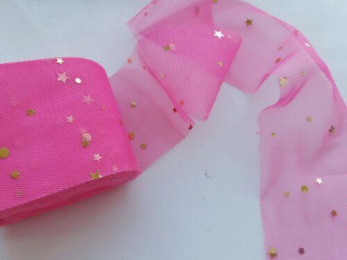 "Tulle glitter sparkle ribbon trim 2/"" wide x 1m//2m wedding bows craft star sequin"