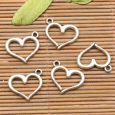 30Pcs  tibetan silver tone heart shaped frame  design charms H0755