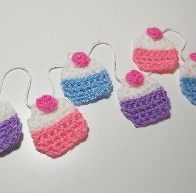 Cupcake Cakes Bunting Garland Crochet Handmade Decor Gift Kawaii Party Nursery