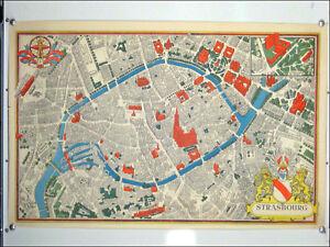 VTG-Strassburg-Stadt-Karte-anno-1950-Velin-Strasbourg-50er-Jahre-Strassen-Poster