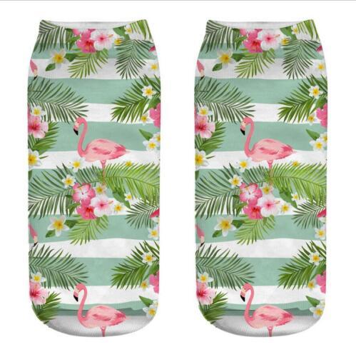 Unisex Tropical Leaf Flamingo Socks Cotton 3D Printed Low Cut Ankle Sock 1 Pair
