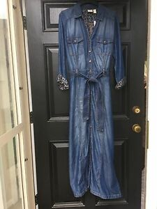 11fd88eda1 Details about New Chico s Denim Utility Indigo Maxi Dress Leopard Print  Lining 1   M 8 10 NWT
