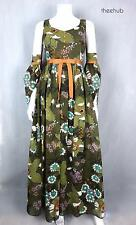 Spectacular Vtg 1960s Olive Tulip Sleeves Romantic Maxi Dress Gown Frank Usher