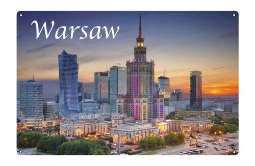 Warsaw Poland City Metal Aluminium Sign Poster Wall Door House Office Pub Plaque