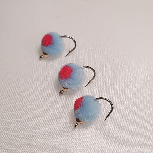 3 Blue Bead Headed Hot Spot Egg Flies # 10s  EGH019