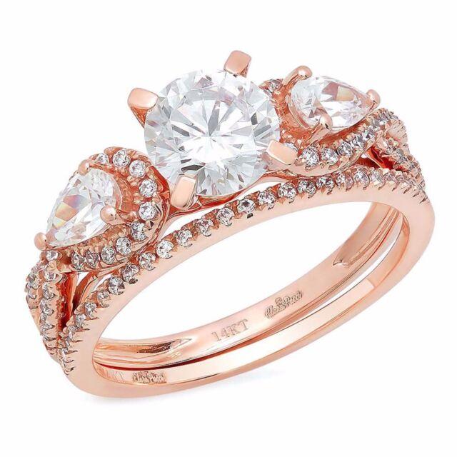 2.10 Carat Round Cut Halo Engagement Ring band set real 14k Rose Gold Bridal