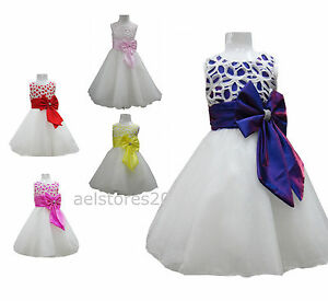 New-Girls-Flower-Bow-Formal-Wedding-Bridesmaid-Party-Size-Dress-Age-2-12-Years