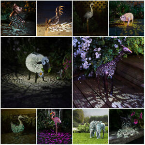 METAL-SOLAR-POWERED-OUTDOOR-GARDEN-ORNAMENT-PATH-NOVELTY-BIRD-ANIMAL-LED-LIGHT