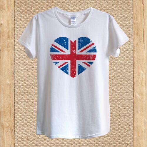 British Flag Union Jack Heart T-shirt Design high quality Cotton unisex women