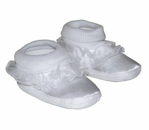 Baby Baptism Booties Shoes 0-6 Month White Satin Lace Embroidered Boy Girl NEW