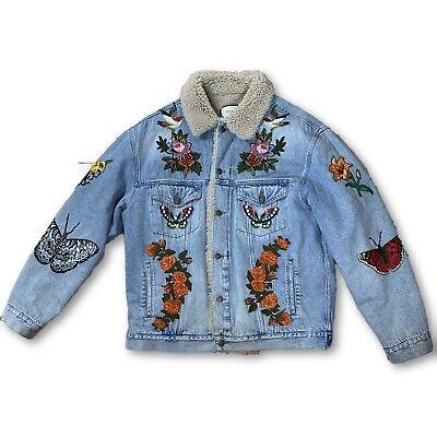 Gucci Tiger Embroidered Shearling Denim Jacket 52