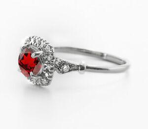 925-Sterling-Silver-Ring-Red-Garnet-Natural-Halo-Gemstone-Size-4-11