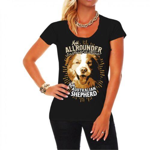 Frauen T-Shirt Australian Shepherd Hunderasse Haustier Welpe Zucht Instinkt