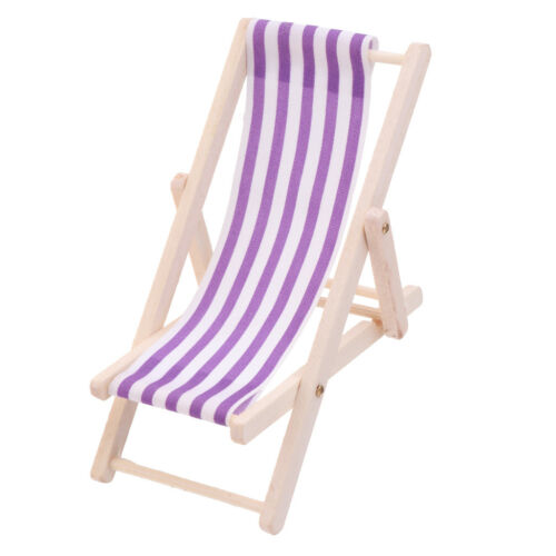2pcs Striped Wooden Lounge Chair for 1//12 Dollhouse Miniature Furniture