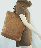 $995 Falorni F901 Camel Woven Leather Tote Hand Bag Women Hobo Lady Falor Italy
