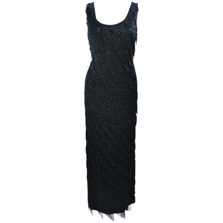 PAULINE SHEN Black Silk Beaded Fringe Gown Size 2-4