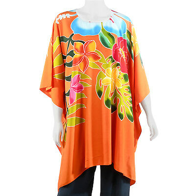 made in USA Plus size poncho style top//tunic,orange or pink theme,size 3X-4X