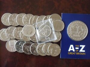 2018 Complete / Full Set A to Z Alphabet 10p Coins with A-Z Completer Medal