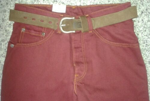 Rare logo Etched Jeans Belt l34 Loose W29 Levi's Leather Fit Tab Red W 8BWdzq
