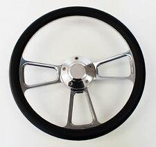 "1960-1969 C10 C20 C30 K10 K20 K30 Chevy Truck Steering Wheel Black & Billet 14"""