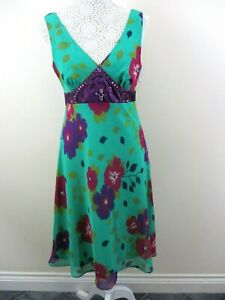 Papaya-Occasionwear-dress-Bnwt-size-12-green-purple-red-floral-bold-colours