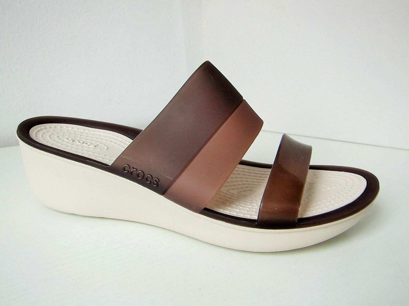Crocs Couleurblock Wedge Sandale marron beige W 6 - 36 37  sandals chaussures marron