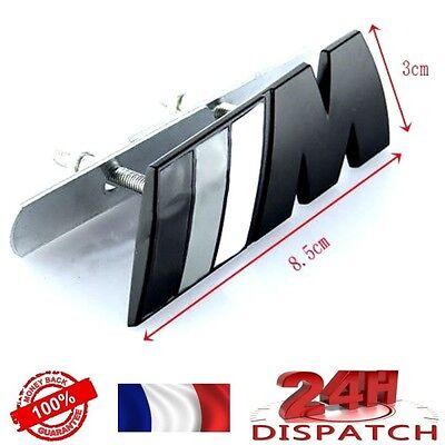 Logo /// M NOIR GRIS pour CALANDRE BMW Metal 82x30mmLogo /// M NOIR GRIS pour CA