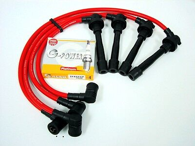 97-02 PRELUDE H22 SPARK PLUG WIRES NGK VPOWER PLUGS RED