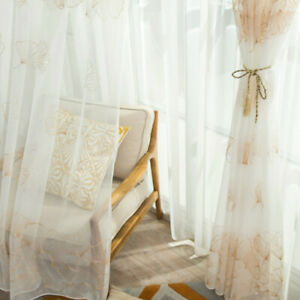 Embroidery Curtain Ginkgo Leaf Pelmet Net Tulle Voile Window Panel Country Fairy