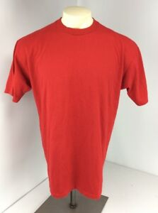 VTG-90s-Blank-Jerzees-Heavyweight-Cotton-50-50-SS-RED-T-Shirt-XL-USA-MADE