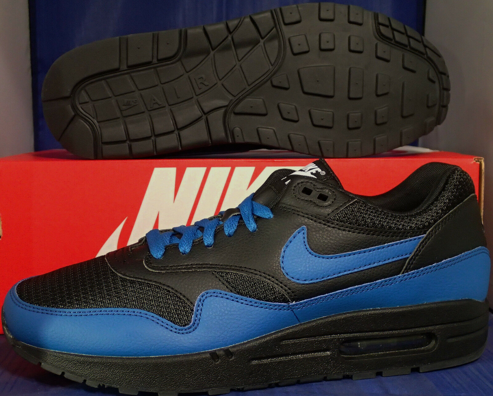 Nike Air Max 1 iD Black Blue SZ 10 ( 744459-991 )
