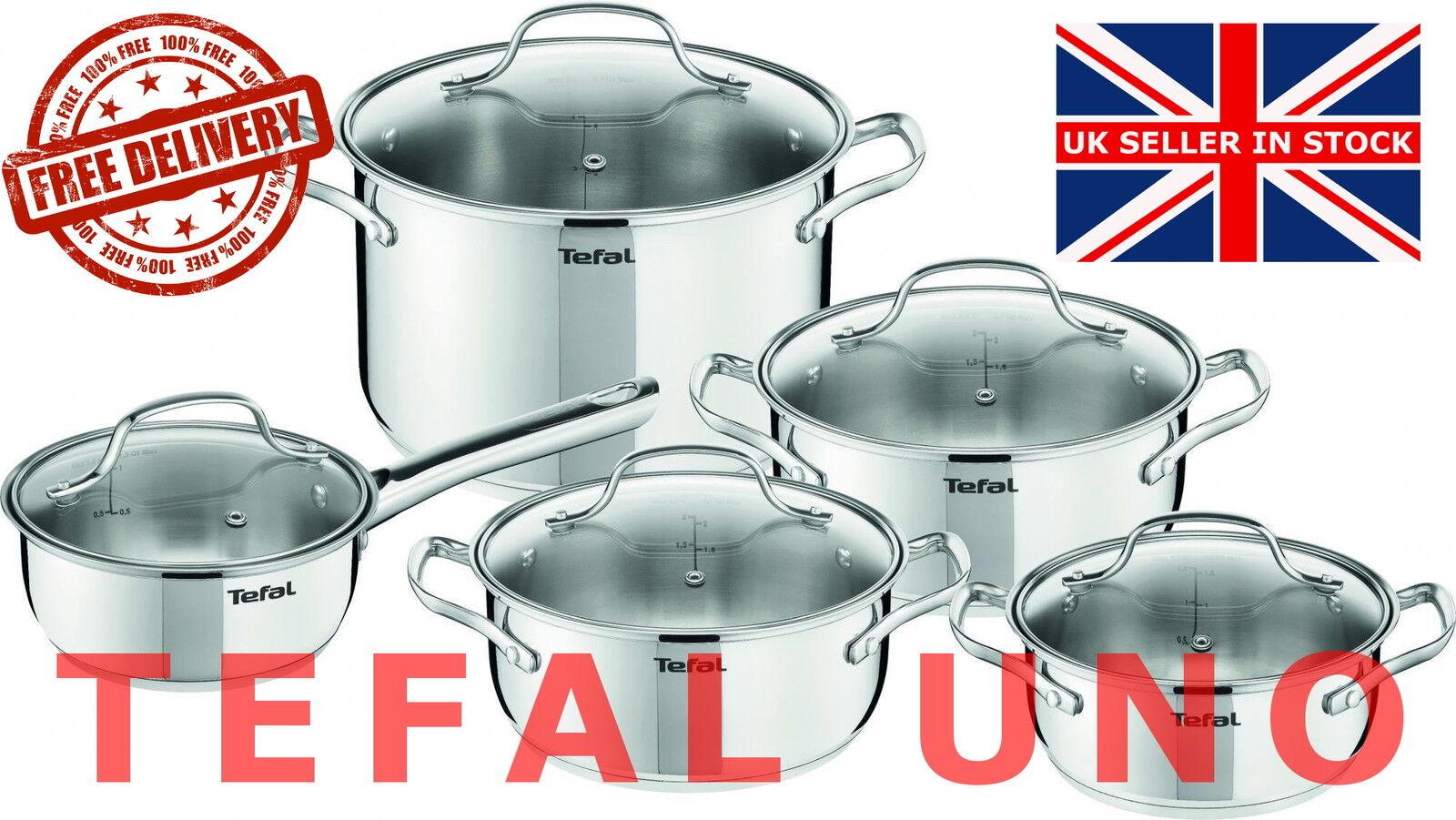 TEFAL uno cuisine en acier inoxydable Set 10 pcs Couvercle en verre pots de cuisine induction