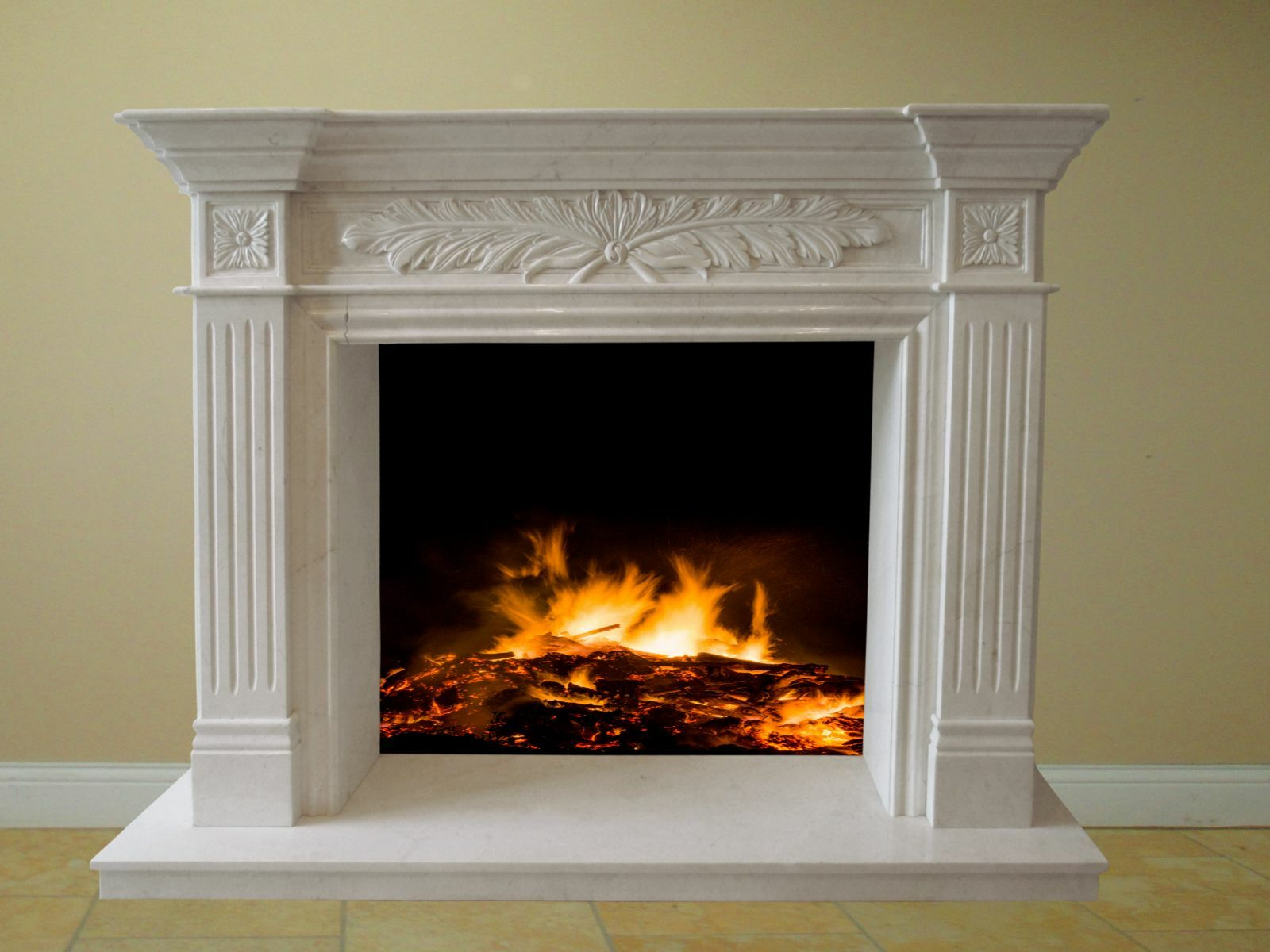 Blyss Carrie Micro Marble Micromarble Fireplace Surround Set Cream For Sale Online Ebay