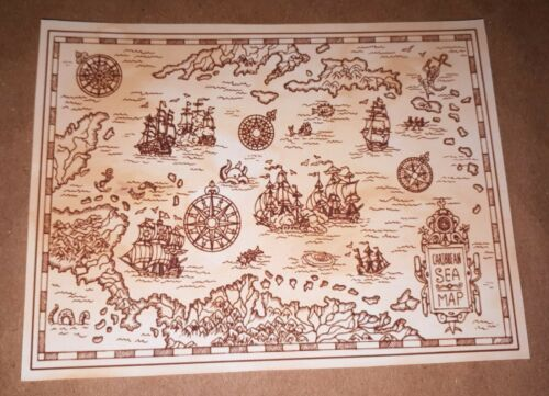 Set of 4-1//6 Scale Pirate Maps Pirates of the Caribbean Jack Sparrow Hot Toys