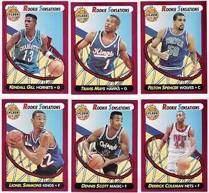 1991-92-Fleer-Rookie-Sensations-Complete-Insert-Set-1-10-Gary-Payton-Coleman-TI
