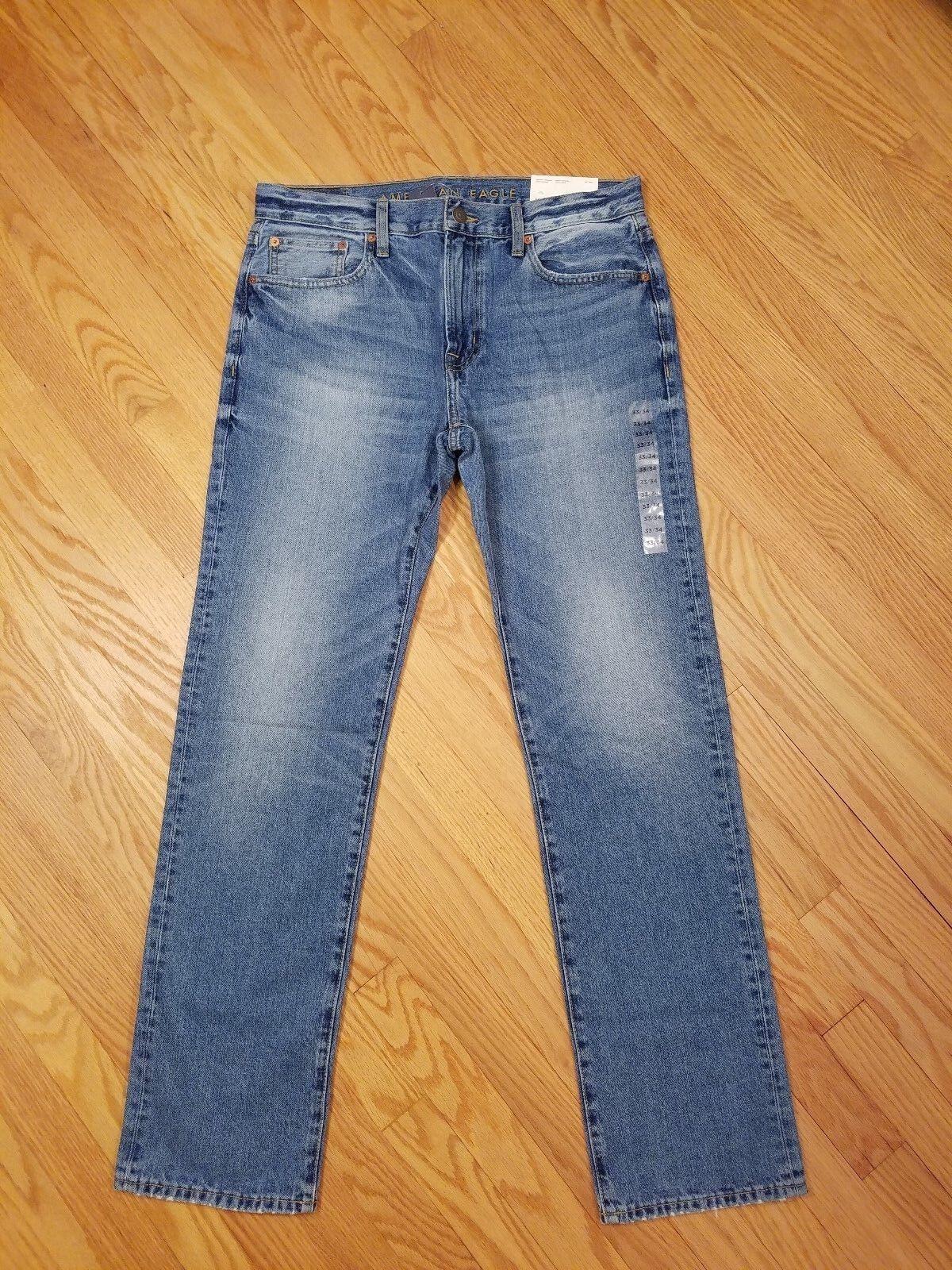Mens NEW AE American Eagle Original Straight Light Vintage Denim Jeans 33 X 34