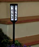 24 Solar Lighted Address Sign Stake Plaque House Number Marker Led Dusk To Dawn