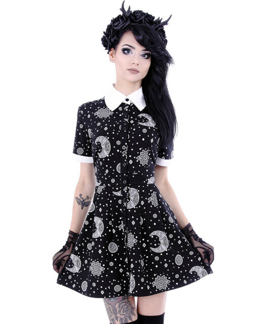 Restyle Gothic Goth Grunge 90's Celestial Print Babydoll Dress Stars Moons Mini