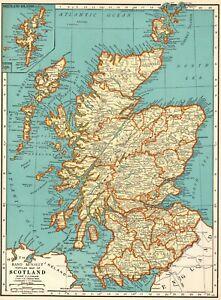 1937-Antique-MAP-of-SCOTLAND-Map-United-Kingdom-Scotland-Gallery-Wall-7655