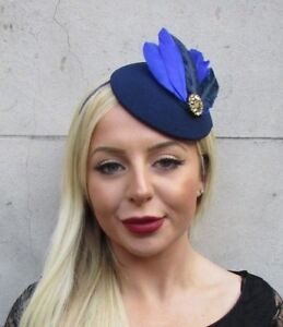 e04c545f Image is loading Royal-Navy-Blue-Gold-Feather-Pillbox-Hat-Fascinator-