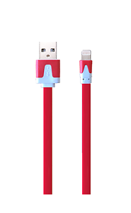 Flat-Lightning-USB-Ladekabel-rot-fuer-Apple-iPhone-X-8-7-6-5-red-iPad-iPod-flach