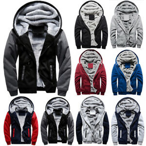 Mens-Thick-Warm-Fleece-Fur-Lined-Hoodie-Zip-Up-Winter-Coat-Jacket-Sweatshirt-Top