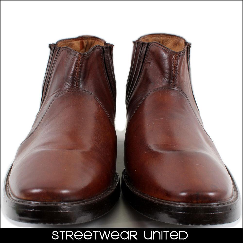 Streetwear Premium Echtleder Handgefertigt Italian zum reinschlüpfen Stiefel 303