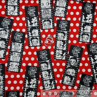BonEful Fabric FQ Flannel Cotton B&W Red BETTY BOOP Film Movie Pin Up Girl S Dot